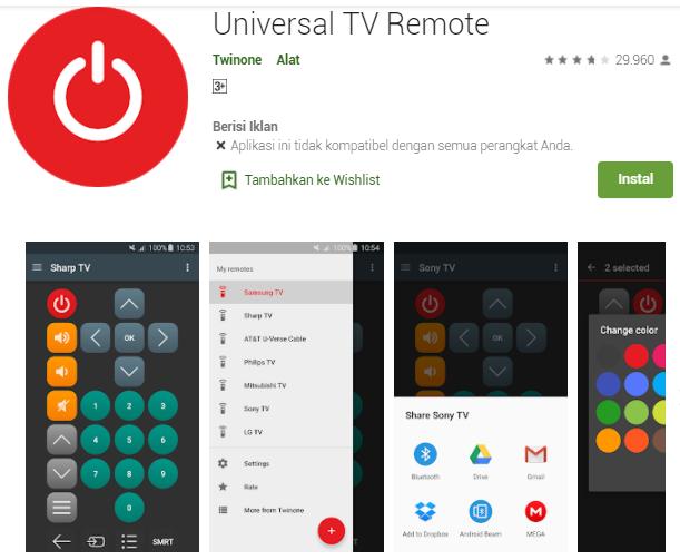 Aplikasi Remot TV Universal Untuk Hp Android