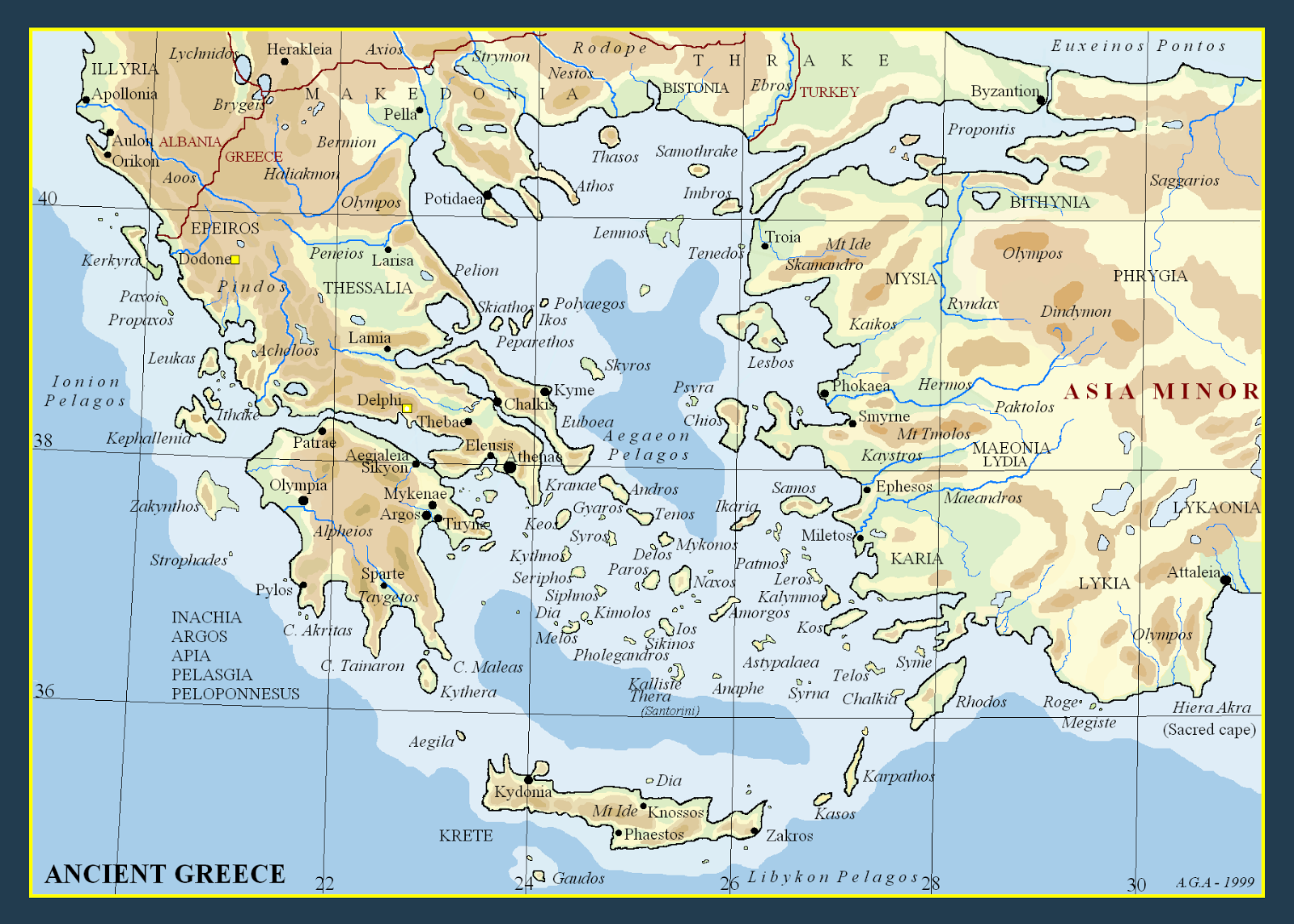 Ancient Greece Map With Cities.Metron Ariston Maps Of Ancient Greece