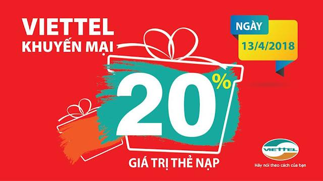 viettel, khuyến mãi viettel, Khuyến mãi tặng 20% giá trị thẻ nạp Viettel, kiếm thẻ cào
