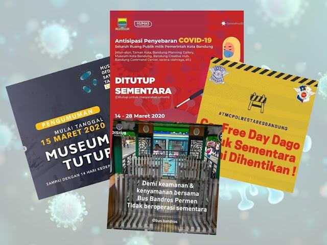 Cegah Penyebaran Covid-19, Area Publik di Kota Bandung Ditutup Sementara