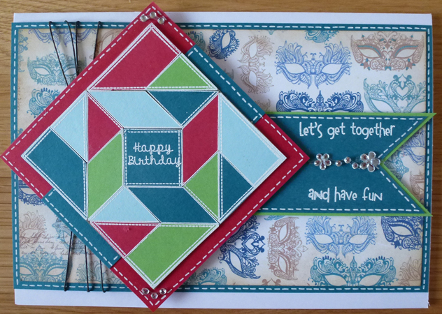 Birthday quilting Card using Woodware products