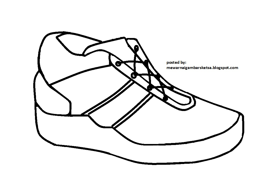 Mewarnai Gambar Mewarnai Gambar Sketsa Sepatu 2