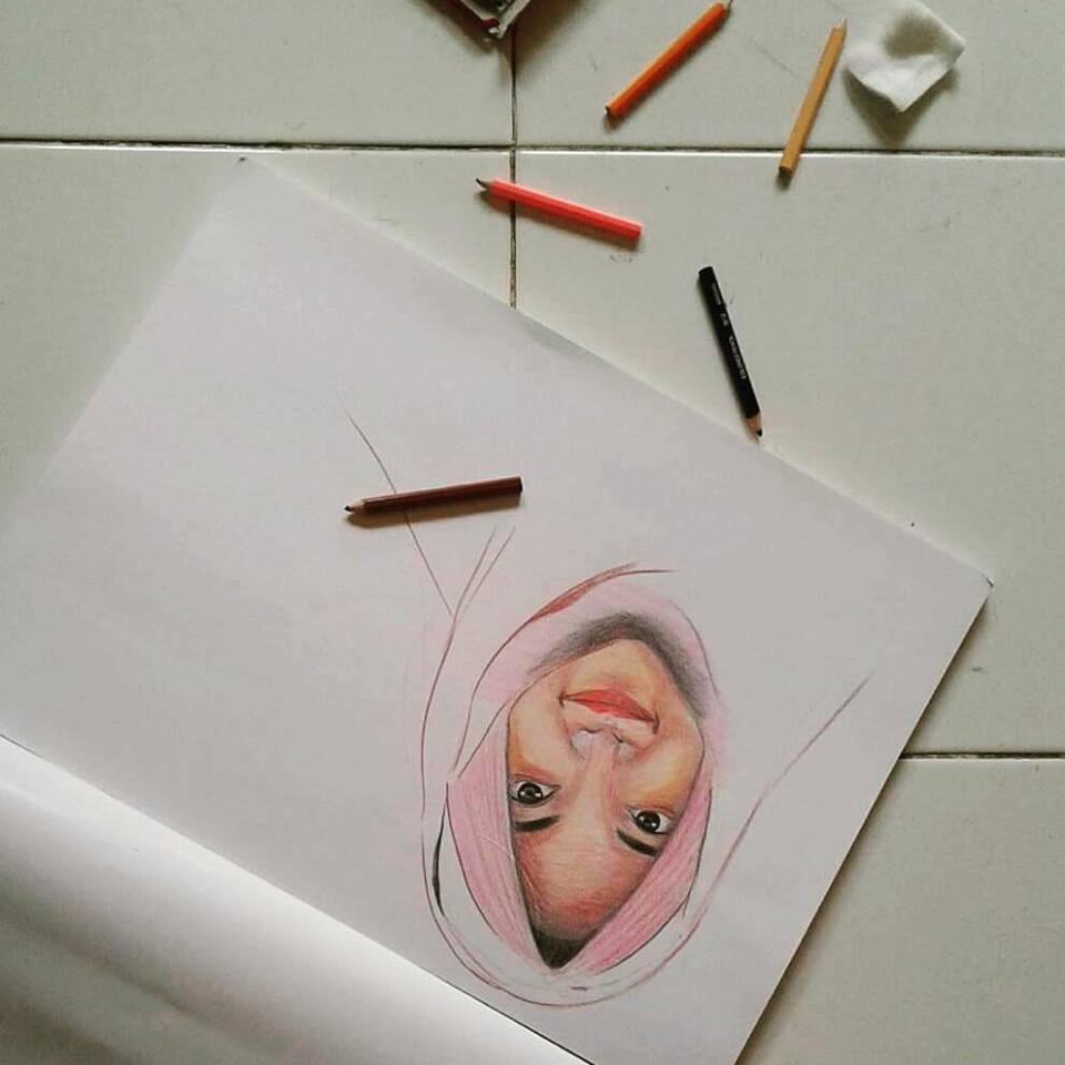 Ceritanya Hasthin Sketsa 3d Dengan Pinsil Warna