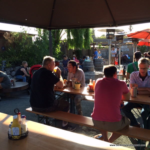 communal tables at Westbrae Biergarten in Berkeley, California