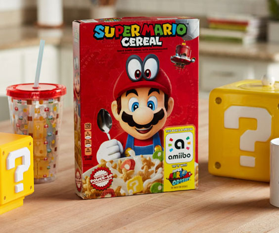 Power up your balanced breakfast with a little flavor by serving yourself a big old bowl of Super Mario cereal. Mario has finally entered the breakfast game with this limited edition mixed berry and marshmallow cereal guaranteed to satisfy any gamer's palate.