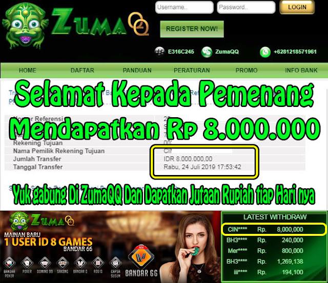 ZumaQQ Kemenangan Periode 24 juli 2019 Poker Online
