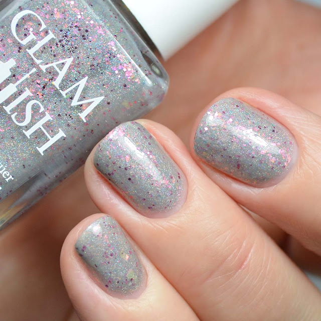 grey holographic nail polish swatch