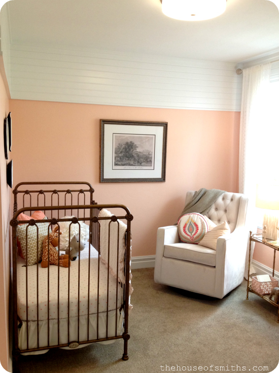 vintage baby nursery - peach gold and white