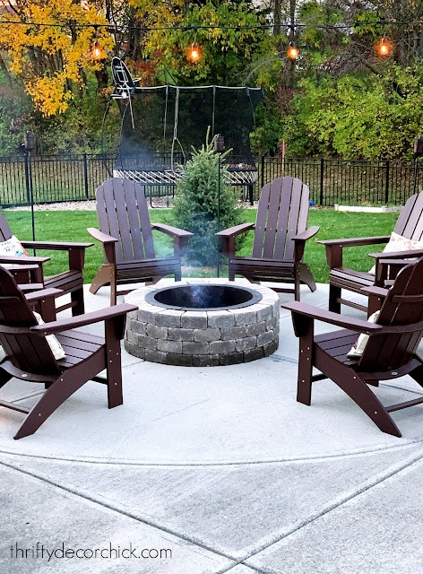 Cozy round fire pit on patio