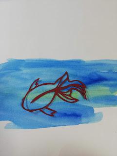 色紙色輪郭の切り絵(濃い背景)
