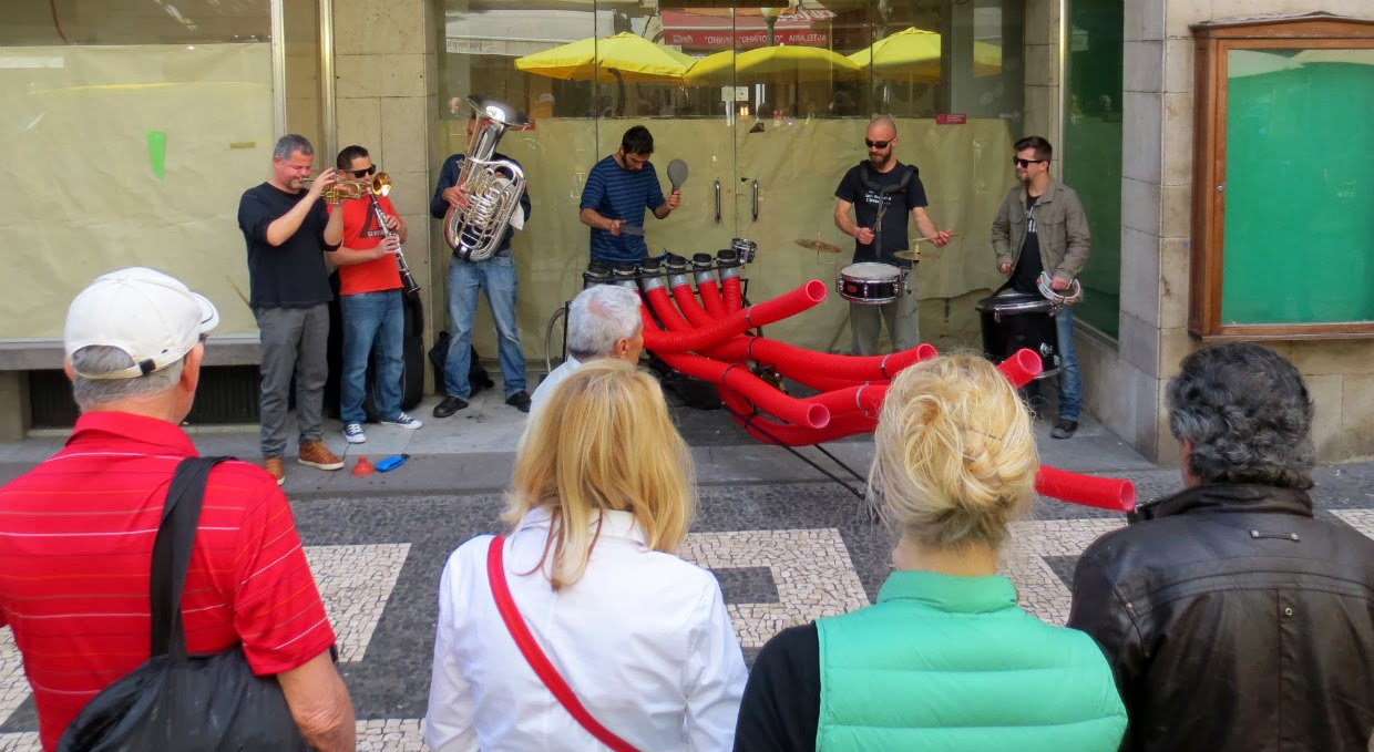 the Camachofones playing in a city street