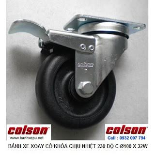 Bánh xe đẩy hàng chịu nhiệt 230 độ Colson có khóa | 2-4646-53HT-BRK4 banhxepu.net