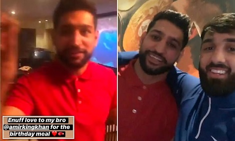Amir Khan defies strict social distancing rules as he hosts a birthday party for FIVE friends