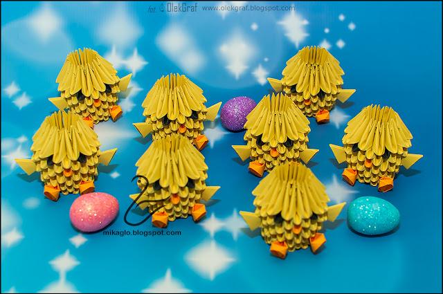 539. Kurczaczki z origami / 3d origami baby chickens