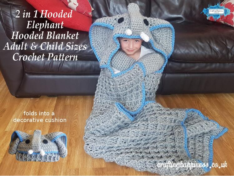 2in1 Elephant Hooded Blanket Crochet Pattern In Child And Adult