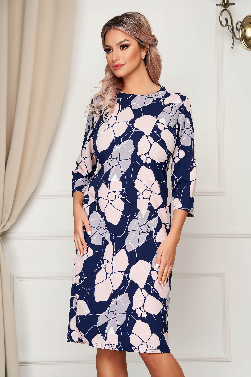 Rochie de zi albastru-inchis midi cu croi drept din material subtire