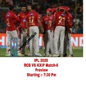 IPL 2020,Match-6 RCB VS KXIP Match Full Details in Hindi
