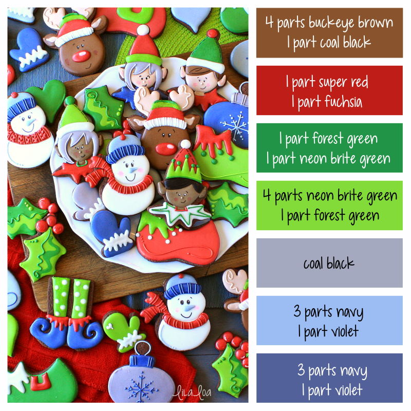 Bright Christmas frosting color formulas - Christmas decorated sugar cookies -- elf, snowman, holly, and mittens