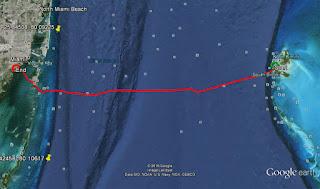 Westward track from Bimini to Miami - Thank you, Brian!