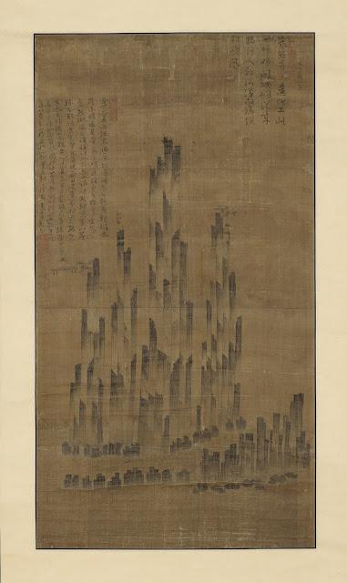 총석정도(叢石亭圖), 조선, 16세기 중반, 비단에 수묵과 담채