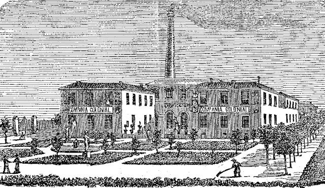 Fábrica de chocolates de la Compaía Colonial (ilustración publicada en la revista Escenas Contemporáneas en 1882)