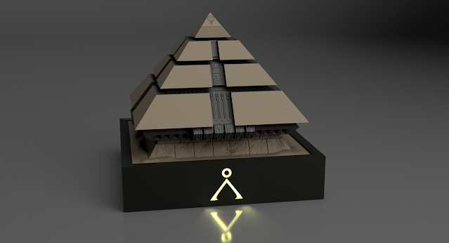 3D render of the Stargate pyramid with the base and case.