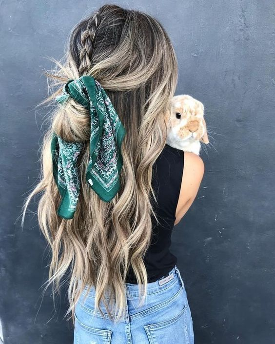 hairstyle trends with a scarf for this season