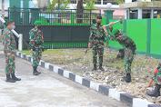 Dalam Rangka Siaga Nataru, Prajurit Kodim Palangka Raya Laksanakan Kerja Bakti