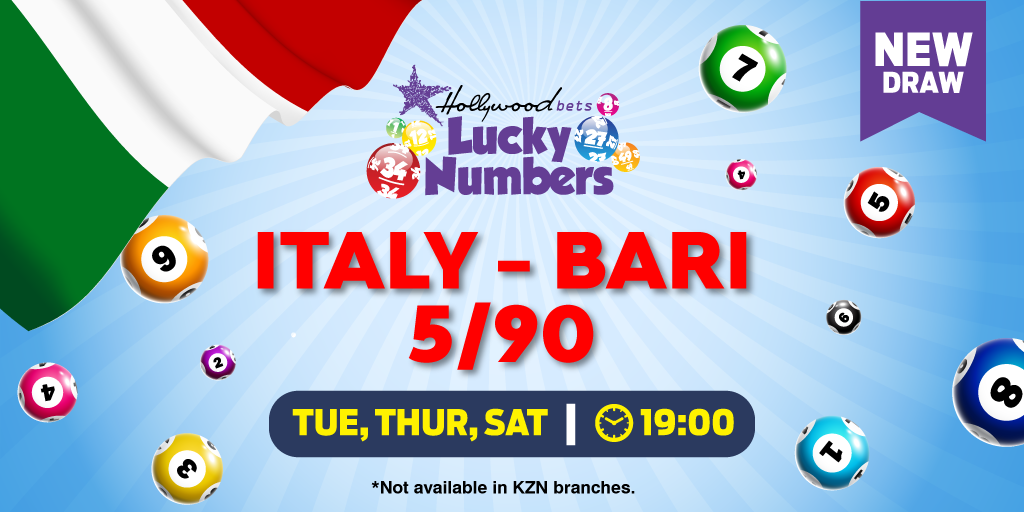 Italy - Bari 5/90 - Lotto - Lucky Numbers - Hollywoodbets