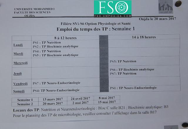 SVI S6 - PS: Emploi du temps de TP Semaine 1