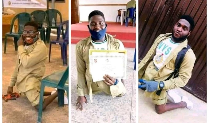 Physically challenged man all smiles as he completes his NYSC (Photos)
