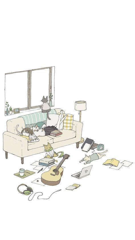 Hình nền anime chủ đề mèo dễ thương