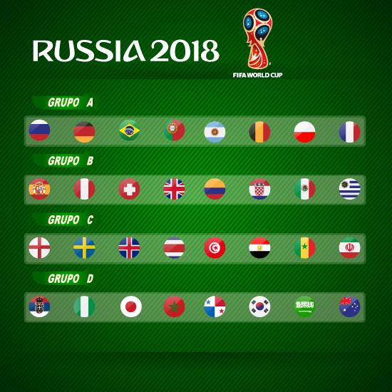 Botón con banderas de países Mundial Rusia 2018