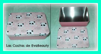 caja lata organizadora oso panda rosa tedi papeleria