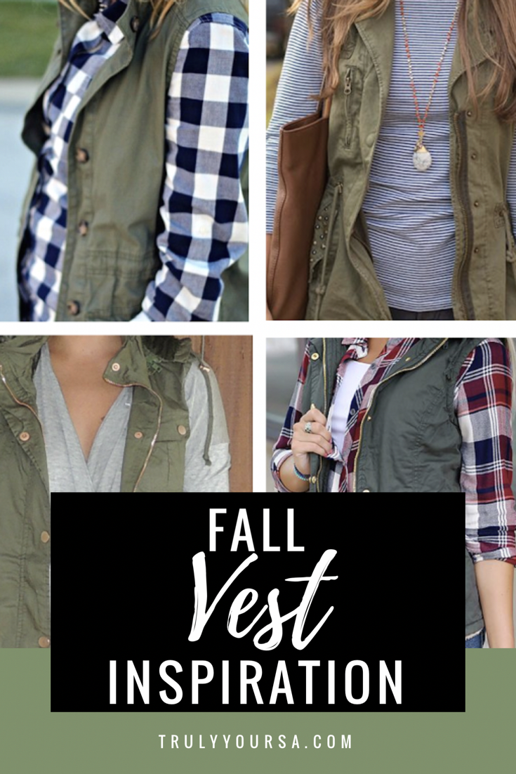 Fall vest inspiration featuring puffer, herringbone, fur and military/utility vests.