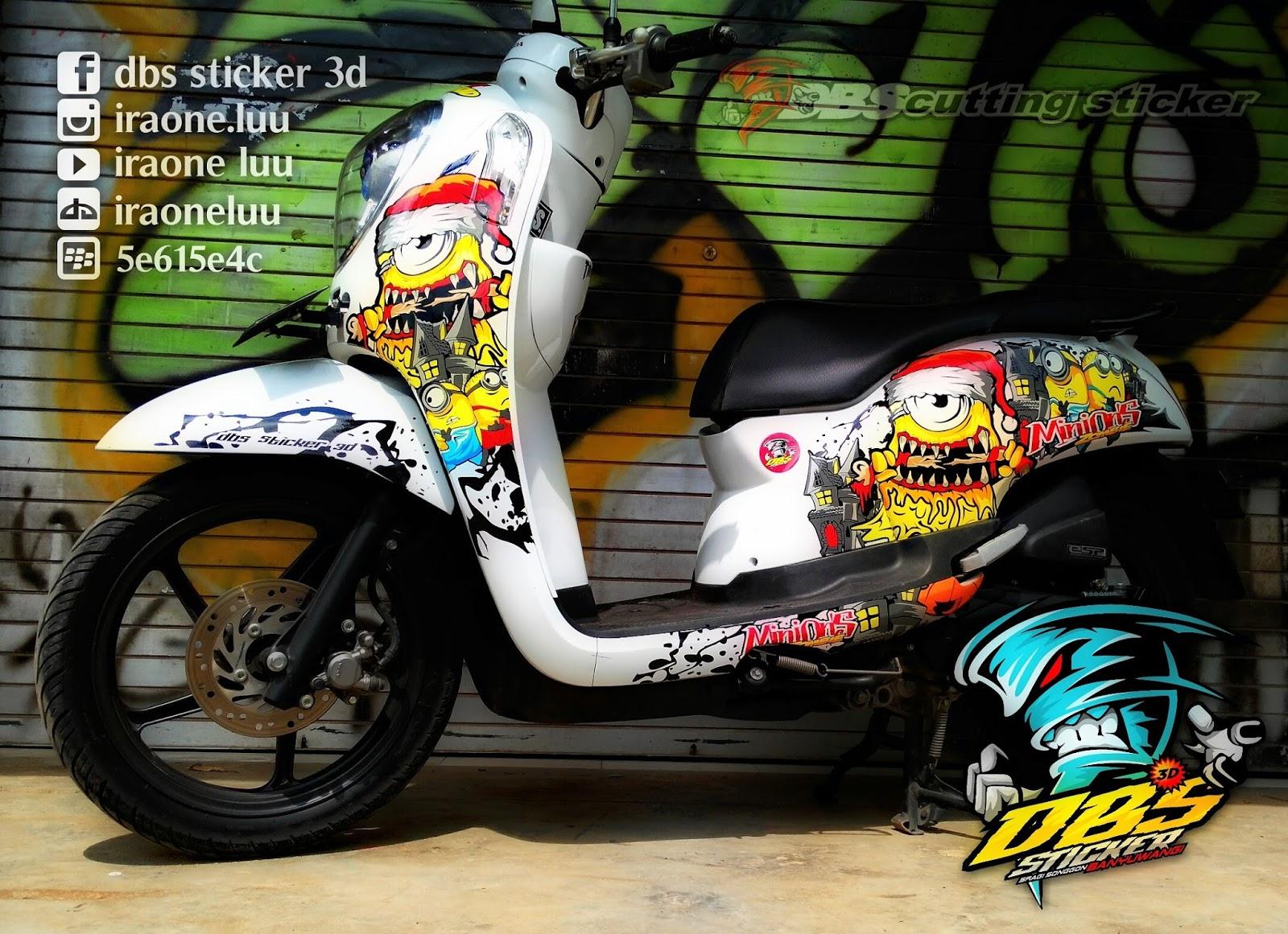 Gambar Cutting Sticker Motor Vespa Jakarta Modif Sticker
