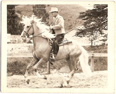 stop action photo of unidentified man riding horse circa 1920s through 1940s