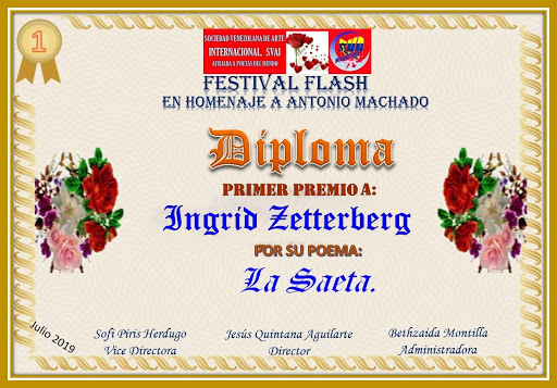 Primer puesto en el foro Sociedad venezolana de artistas internacionales -