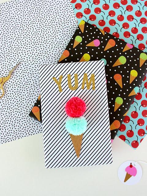 Pom pom ice cream gift wrap
