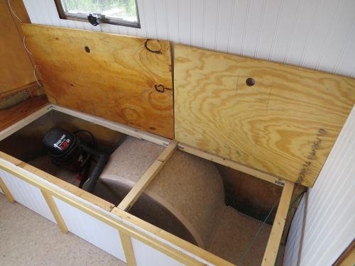 travel trailer bench with storage below