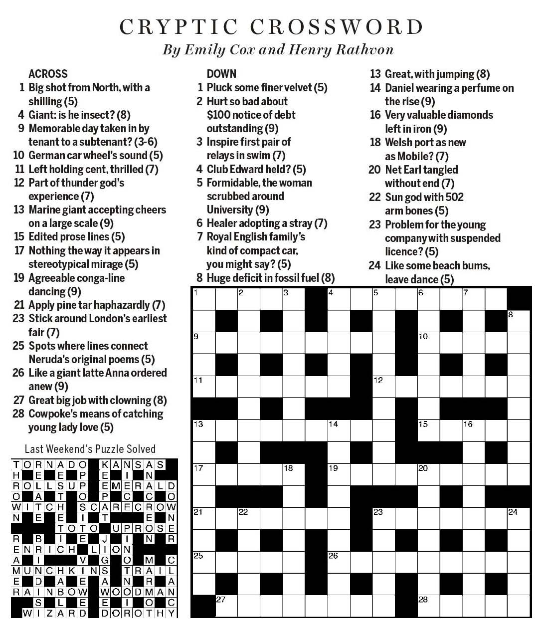 National Post Cryptic Crossword Forum Saturday December 15 2018 No Small Matter