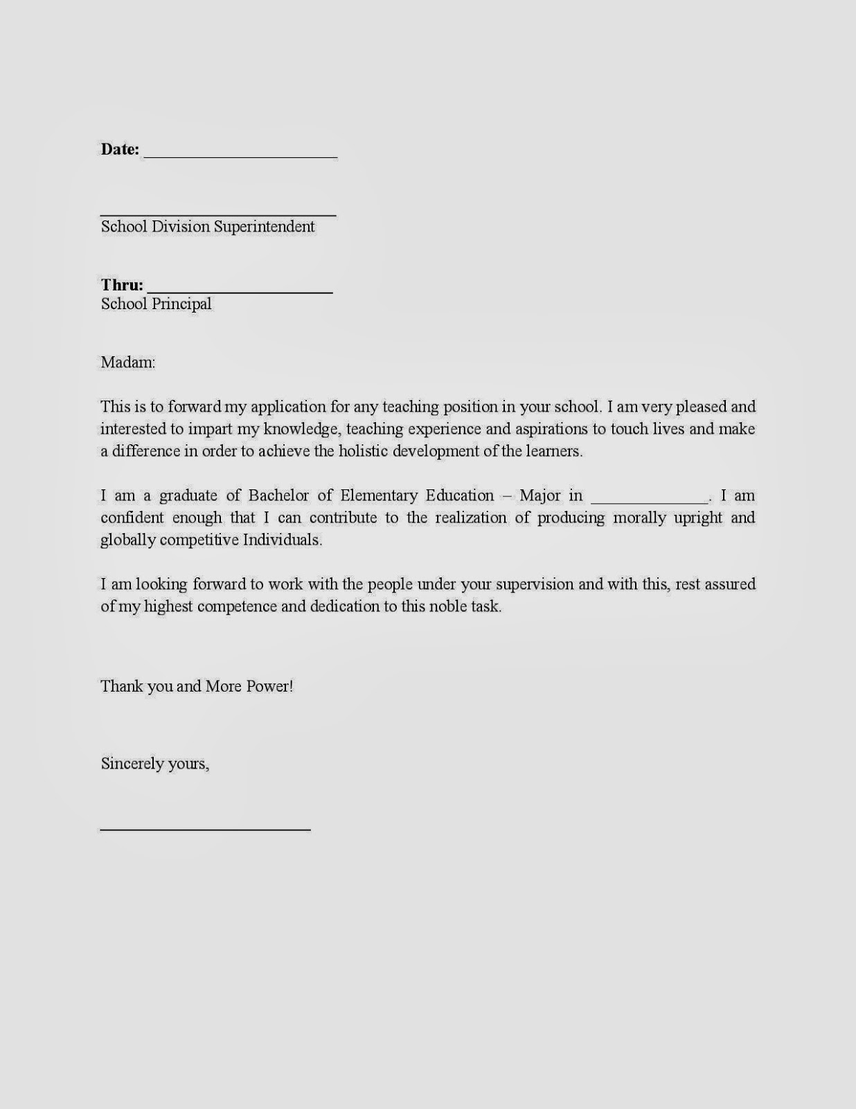 Application Letter To Principal For Admission