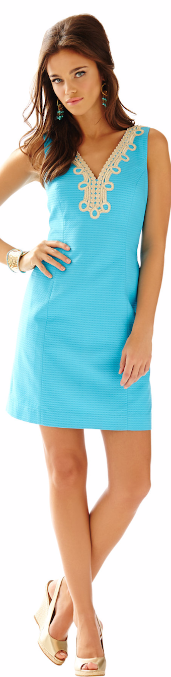 LILLY PULITZER BENTLEY V-NECK SHIFT DRESS BLUE