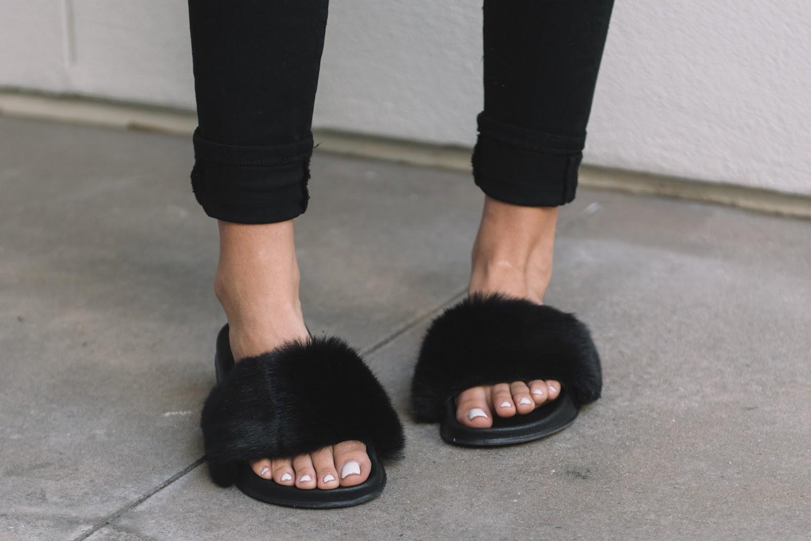 UO Faux Fur Pool Slide Black