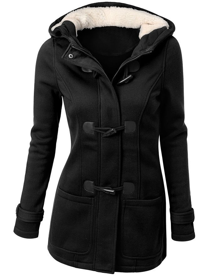 Hooded Double-Pocket Flocking Long Sleeve Long Winter Coat