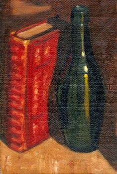 Oil painting of an old red leather bound book standing on its end, alongside a green torpedo bottle.