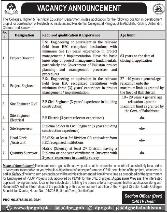 Colleges Higher & Technical Education Department Jobs 2021 in Quetta Balochistan
