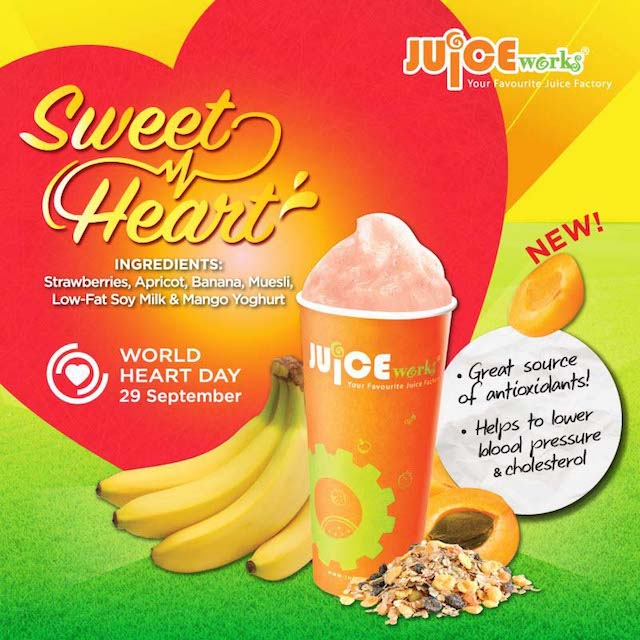 Sweet Heart - contains strawberries, apricot, banana, muesli, low-fat soy milk and mango yoghurt