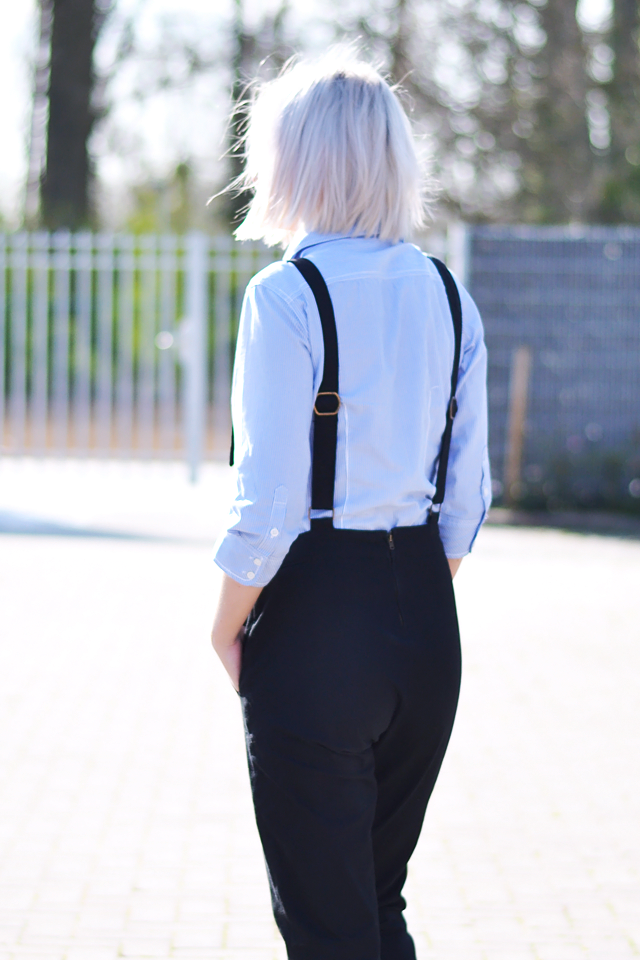 Asos dungarees, 90's, black, denim, striped shirt