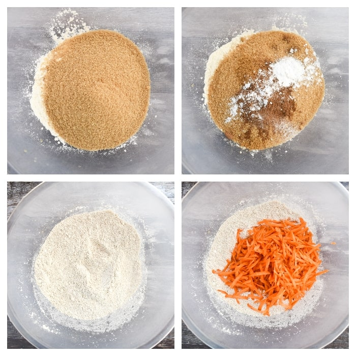 Making vegan carrot cake - step 2  (sugar, spices and grated carrot added to the dry mix)